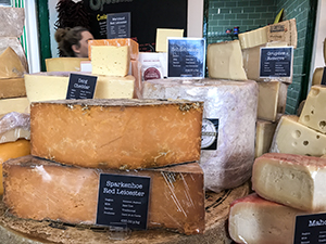 cheeses on a counter