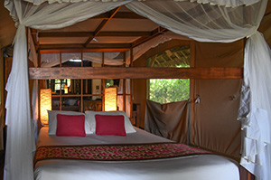 a bed in a tent on safari in kenya