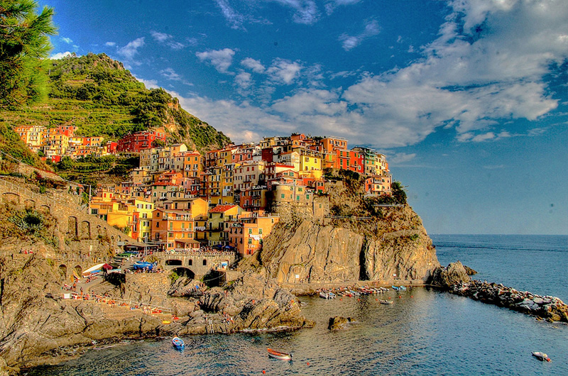 cinque terre italy as seen from the sea