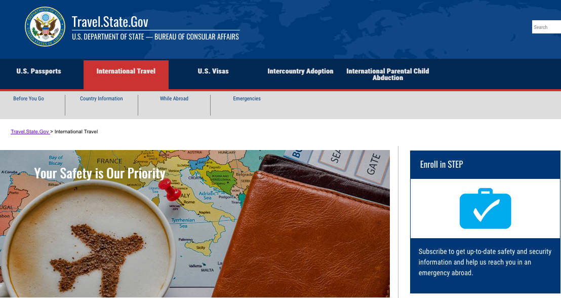 State Department web page