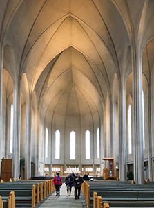 people in a church on an Iceland tour