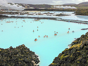 people in a lagoon seen on an Iceland tour