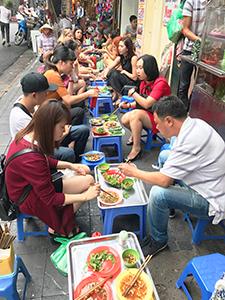 people eating street food