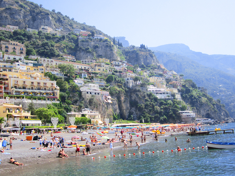 The beach at Positano, one of the top places to visit in Italy