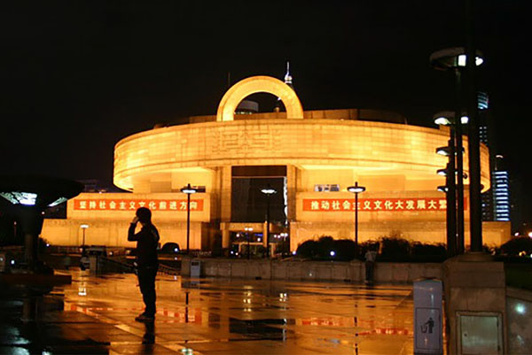 a round building at night