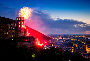 watching the illumination of the castle,  one of things to do in Heidelberg