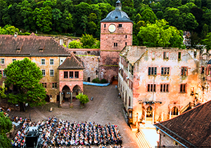 a music concert in a castle courtyard