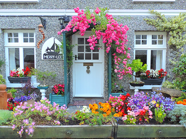 a house with beautiful flowers