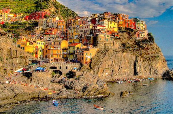 s pretty town on a cliff seen on a day trip from Milan