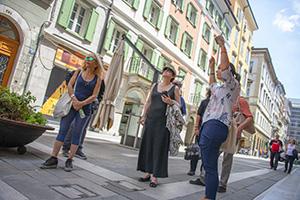 women on a walking tour