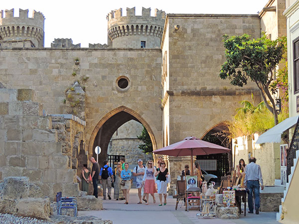 an old city wall on Rhodes, one of teh best Greek islands for families