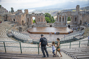 people in an ancient greek theater - Palermo