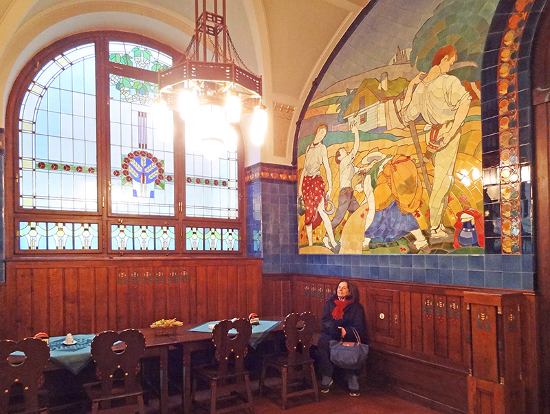 the interior of an art nouveau restaurant in Prague, much like those seen on day trips from the city