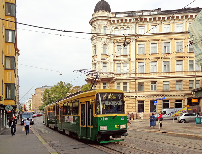 a trolley passing near the Helsinki Design Museum, one of the top museums in Helsinki
