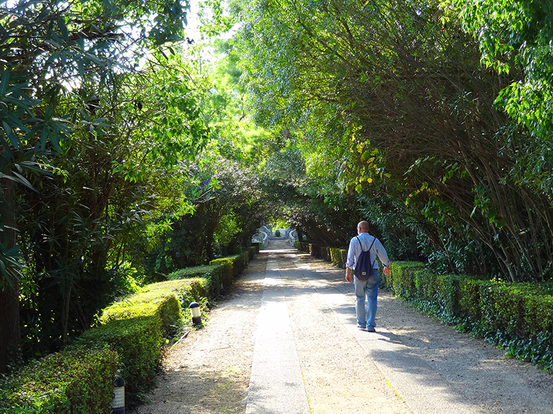 image of a man walking on through a hotel garden illustrating information on Coimbra hotels
