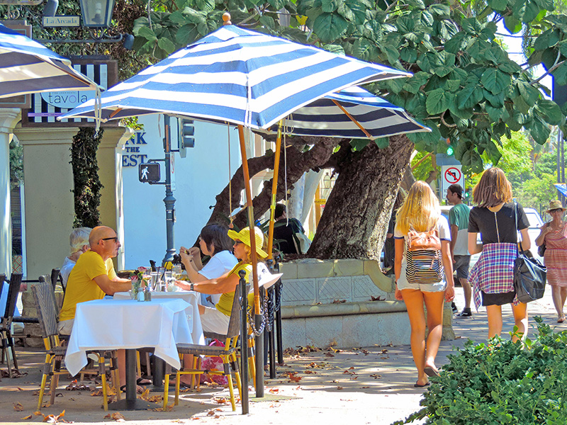 people sitting under an umbrella in a cafe in downtown Santa Barbara, the American Riviera