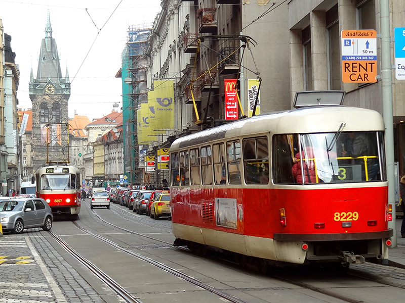 a trolley, part of the public transportation in Prague