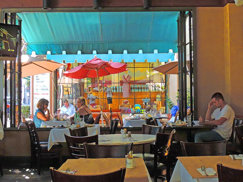people in a restaurant in downtown Santa Barbara