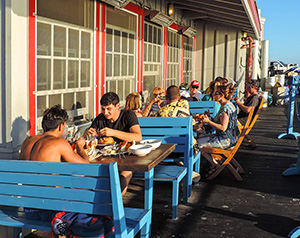 """people having a later lunch in Santa Barbara, known as the """"American Riviera"""""""