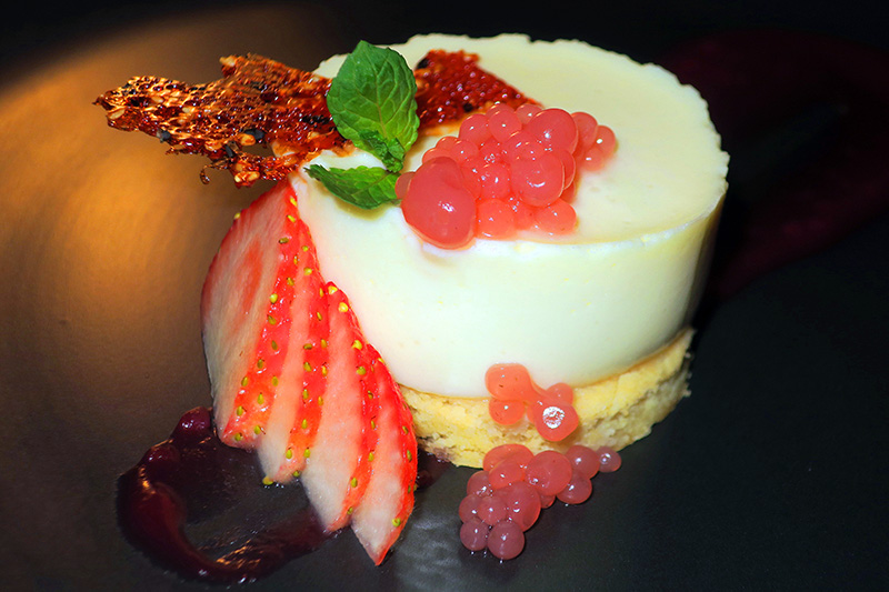 Champagne White Chocolate Cheesecake desert eaten at one of the restaurants in barbados