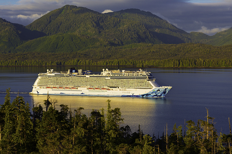 The Norwegian Bliss sailing into a bay in Alaska