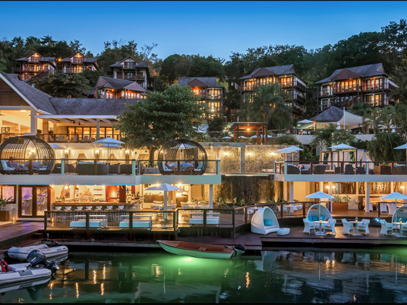 A luxury St Lucia in the evening