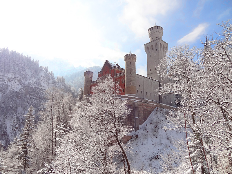 A castle seen on a day trip from Munich to Neuschwanstein Castle