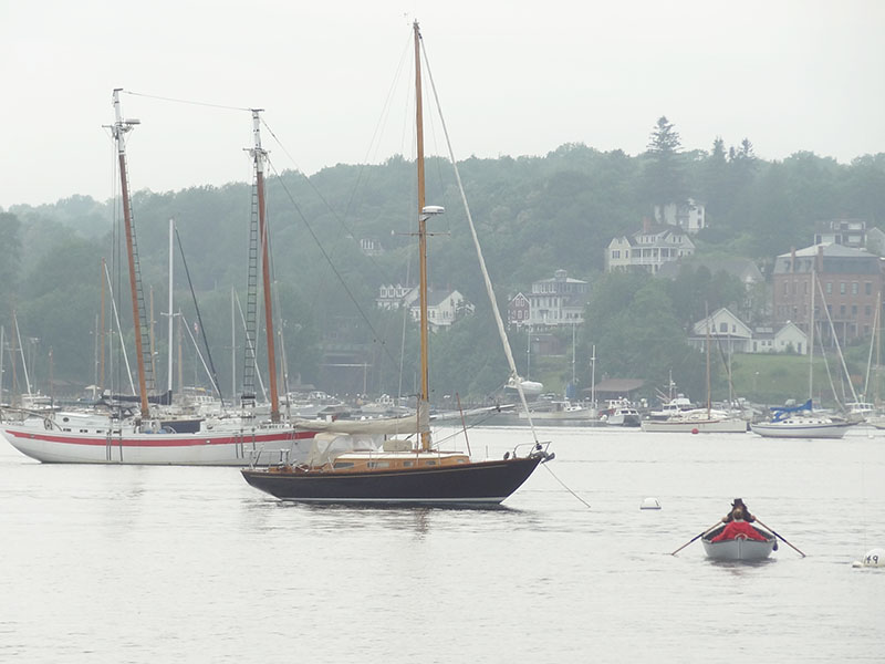 boats at anchor at down in one of Maine's coastal towns on Maine's Route 1