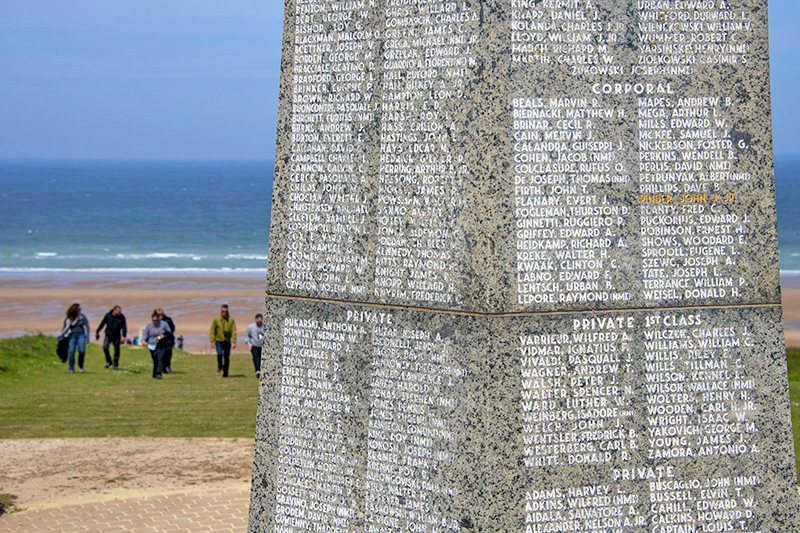 A D-day monument on Omaha beach seen on a trip to Normandy from Paris