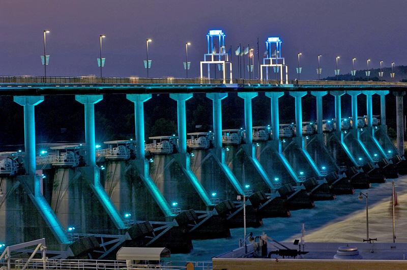 blue lighting on a dam