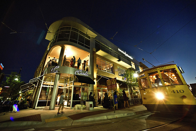 bars and people in the evening, one of the popular places to visit in Little Rock