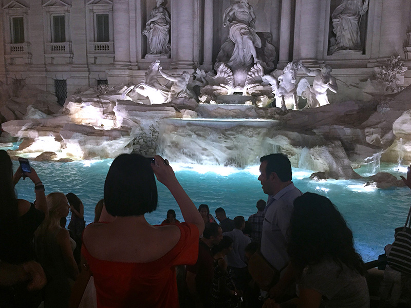 The Trevis Fountain, one of the places in Rome best known to travelers