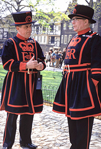 Yeoman Warders in colorful uniforms at the Tower of London
