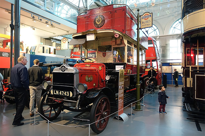 An old London bus in a museum
