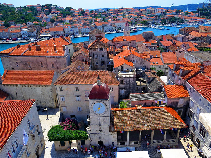 aerial view of a town thats one of the best cities in Croatia