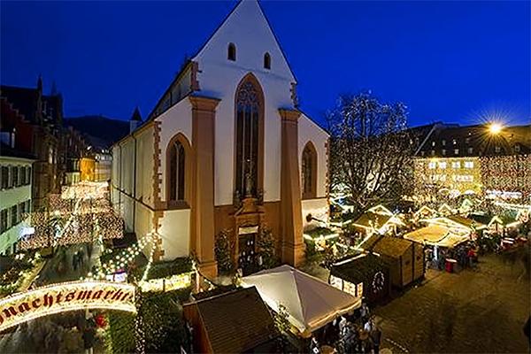 a church near a German Christmas market