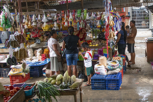 people in a busy market