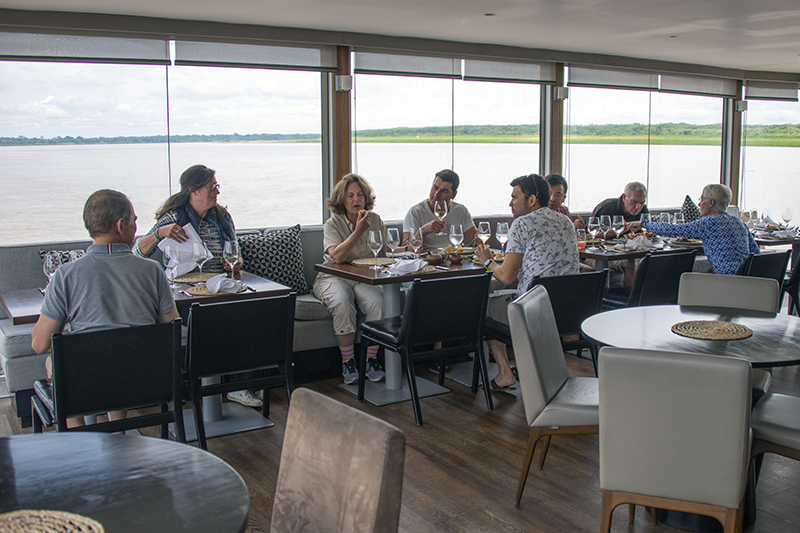In the Aria's restaurant on an Amazon River cruise in Peru