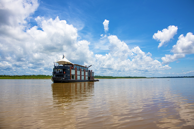 a large boat on our luxury Amazon River cruise in Peru