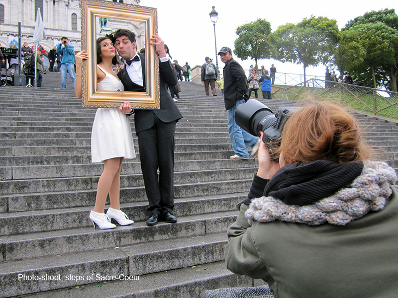 models on steps in photos of Paris