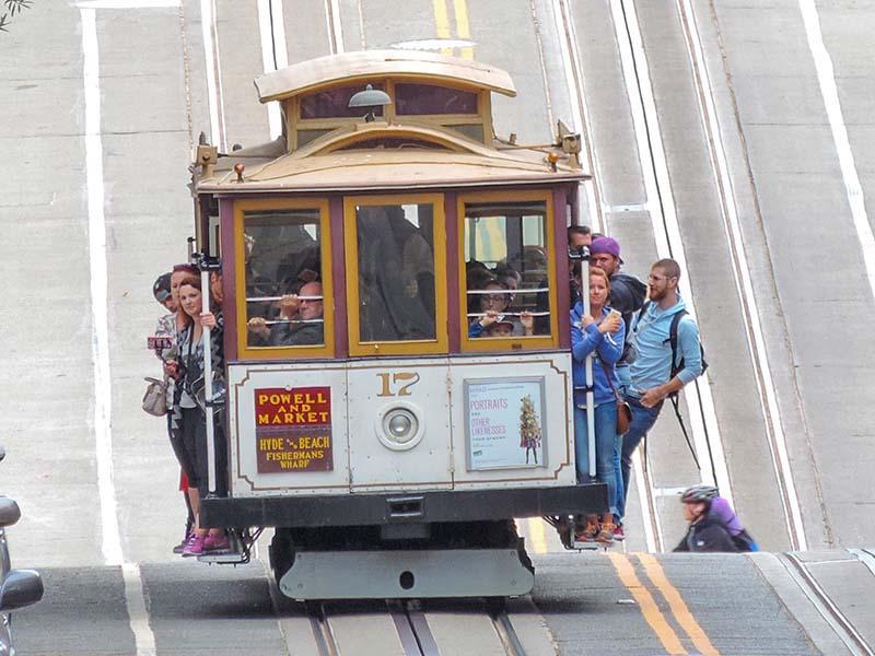 people on a cable car - San Francisco photos