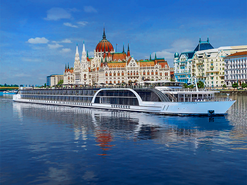 A ship on the Danube in Budapest on a luxury river cruise