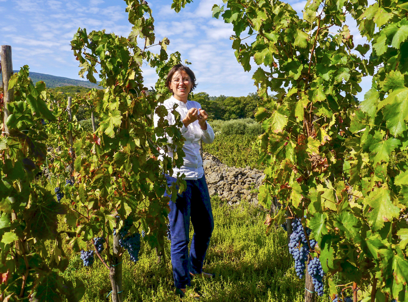 a woman walking though wineries in sicily