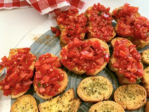 tomatoes on toast at wineries in sicily