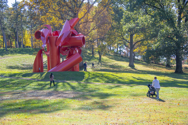 people by a large outdoos sculture in the Hudson Valley
