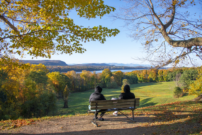 couple on a bench looking at the woods and river in the Hudson Valley