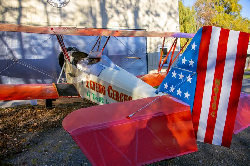 a colorful biplane