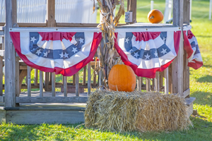 Bunting and bale of hay in the Hudson Valley