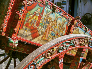 an old decorated cart at wineries in sicily