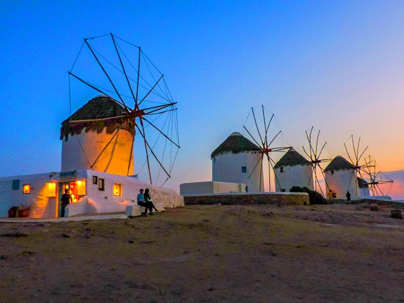 windmills at sunset in Mykonos Town
